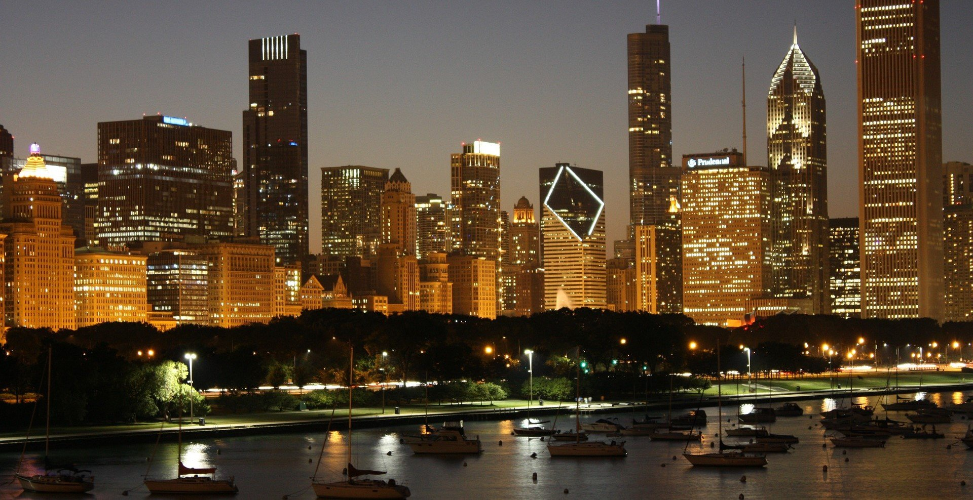 A view of Chicago Skyline at Night - VeteranCarDonations.org