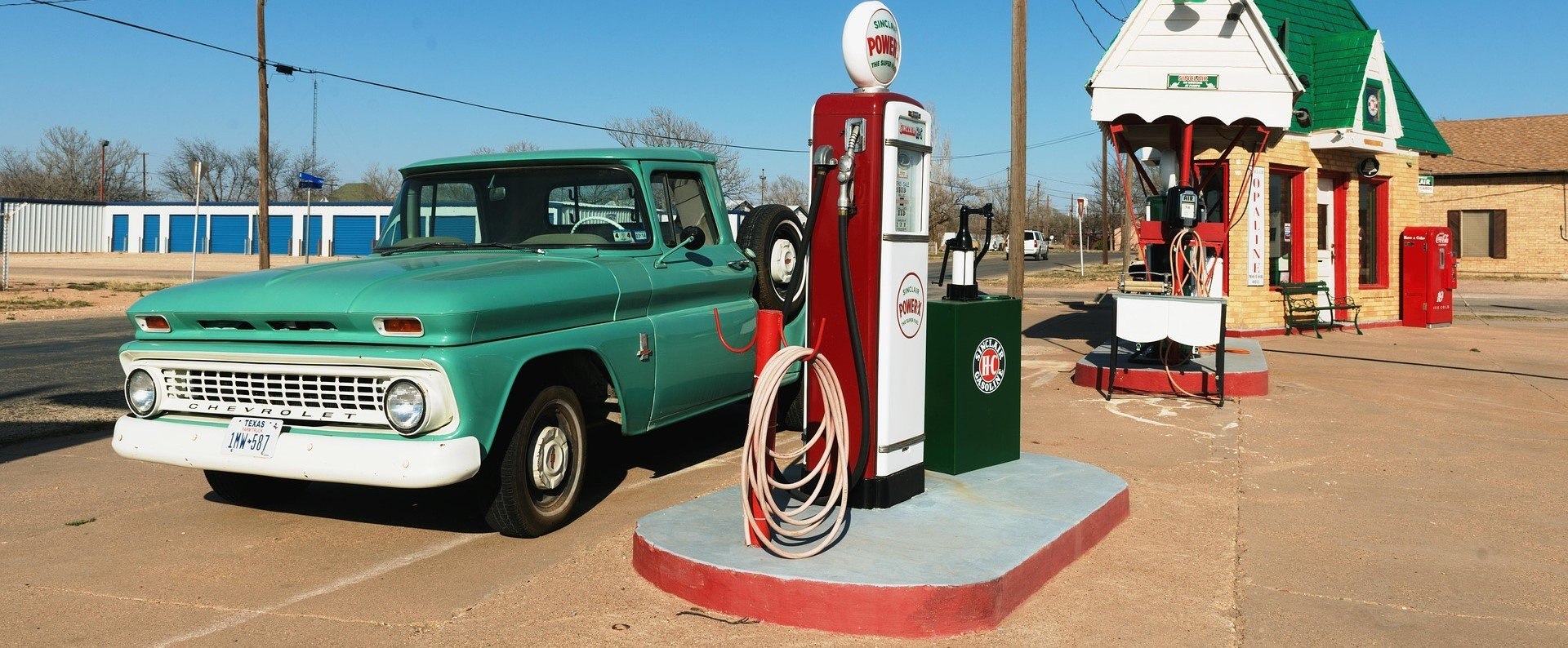Old Car on a Gas Station in Texas - VeteranCarDonations.org