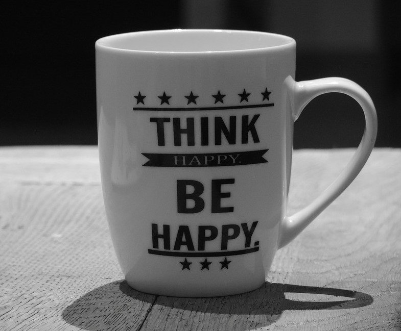 Think Happy Be Happy Coffee Mug - VeteranCarDonations.org