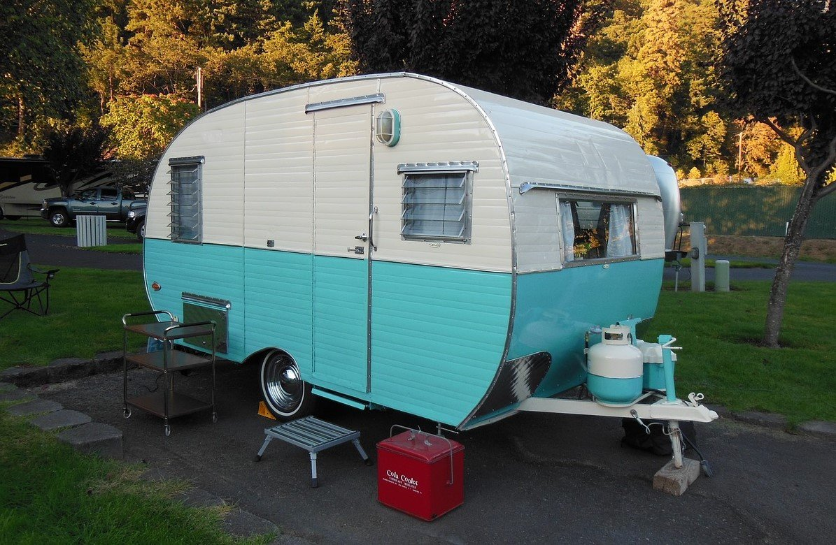 Parked Teardrop Camper | Veteran Car Donations